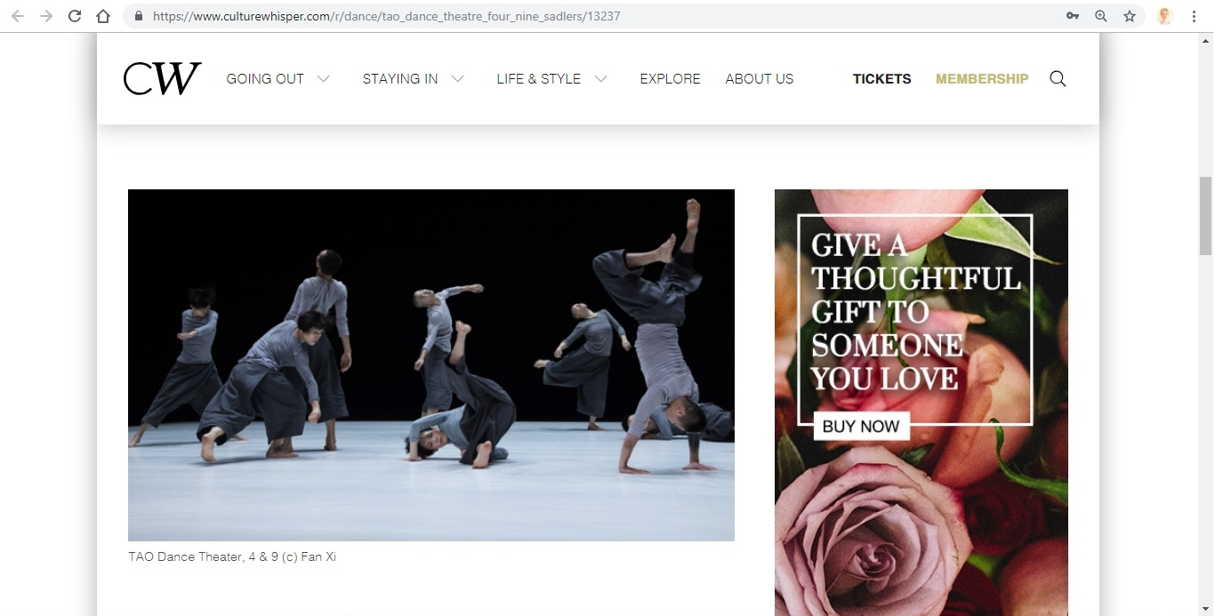 Screenshot of Culture Whisper content by Georgina Butler. Preview of TAO Dance Theater: 4 and 9, image 2