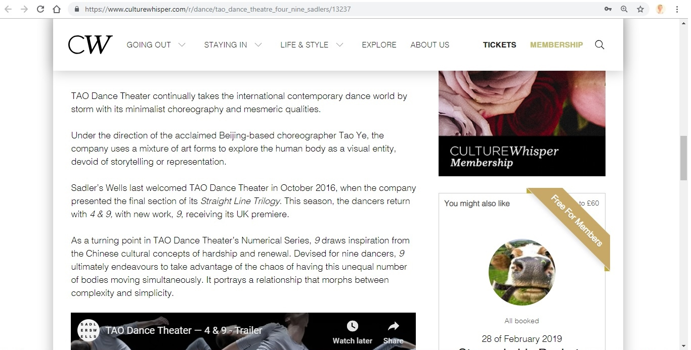 Screenshot of Culture Whisper content by Georgina Butler. Preview of TAO Dance Theater: 4 and 9, image 3