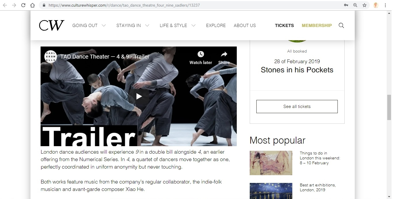 Screenshot of Culture Whisper content by Georgina Butler. Preview of TAO Dance Theater: 4 and 9, image 4