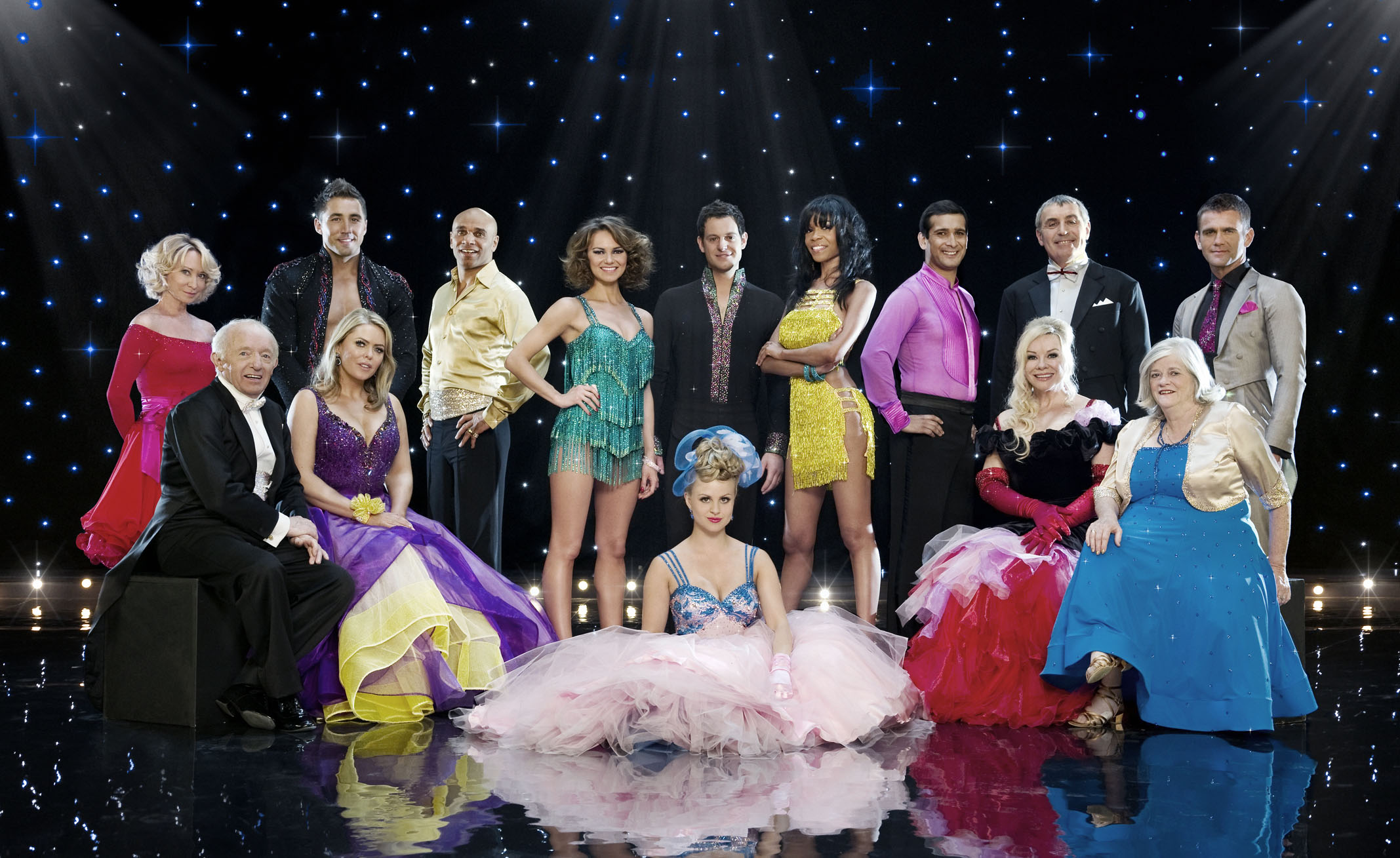 The cast of BBC show Strictly Come Dancing 2010. Picture shows: Standing l-r: Felicity Kendal, Gavin Henson, Goldie, Kara Tointon, Matt Baker, Michelle Williams, Jimi Mistry, Peter Shilton, Scott Maslen. Seated l-r: Paul Daniels, Patsy Kensit, Tina O'Brien, Pamela Stephenson, The Rt Hon Ann Widdecombe. Picture courtesy of the BBC.