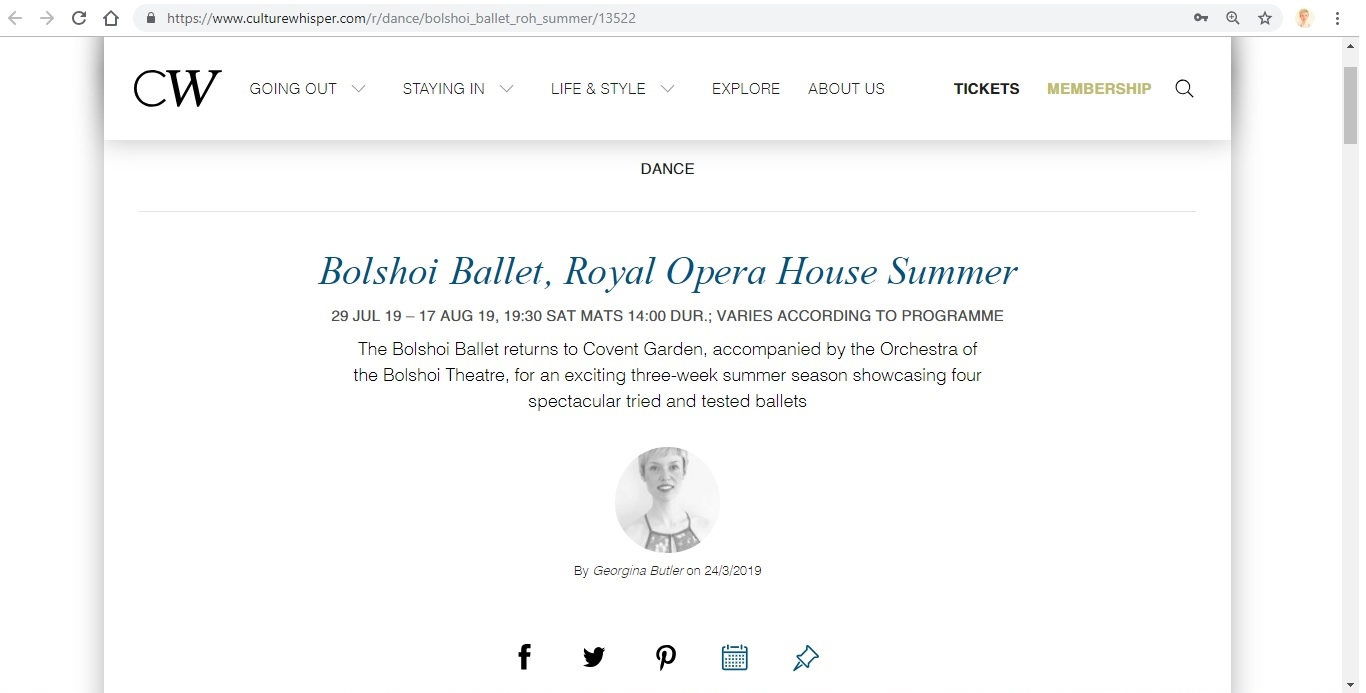 Culture Whisper - Bolshoi Ballet, ROH Summer 2019 1
