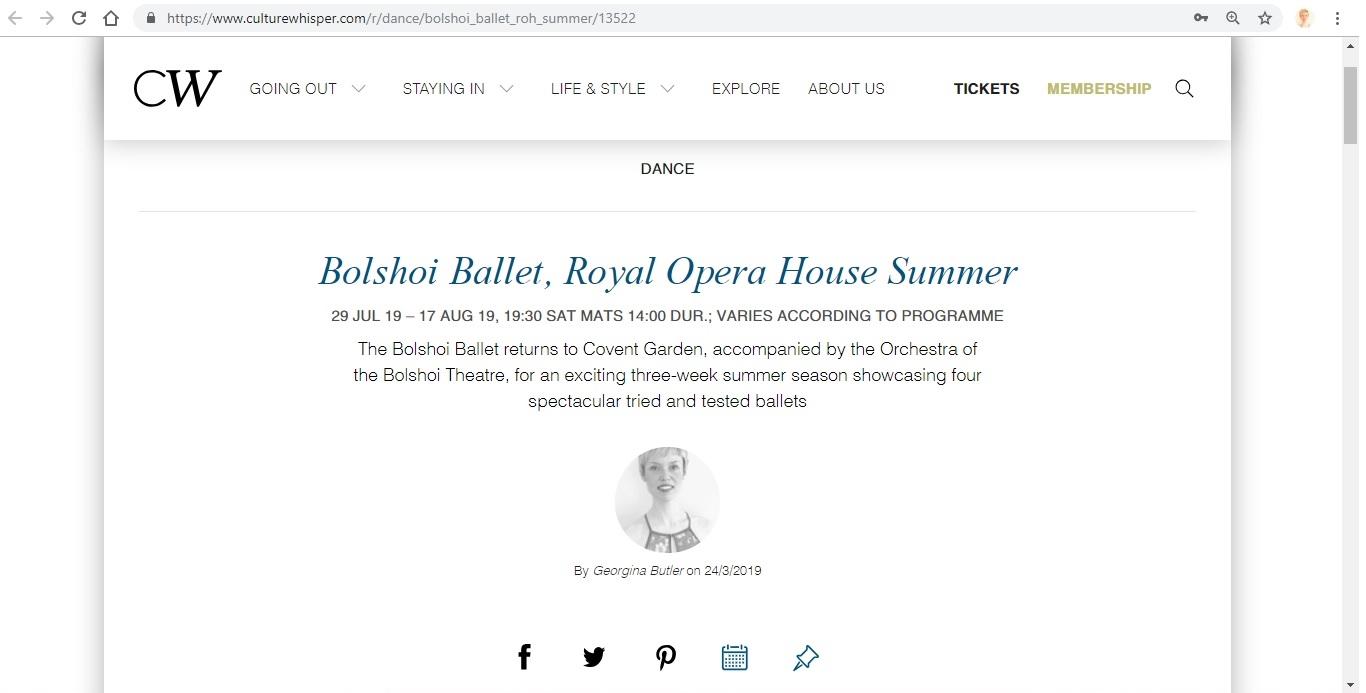 Screenshot of Culture Whisper content by Georgina Butler. Preview of Bolshoi Ballet: Royal Opera House Summer, image 1