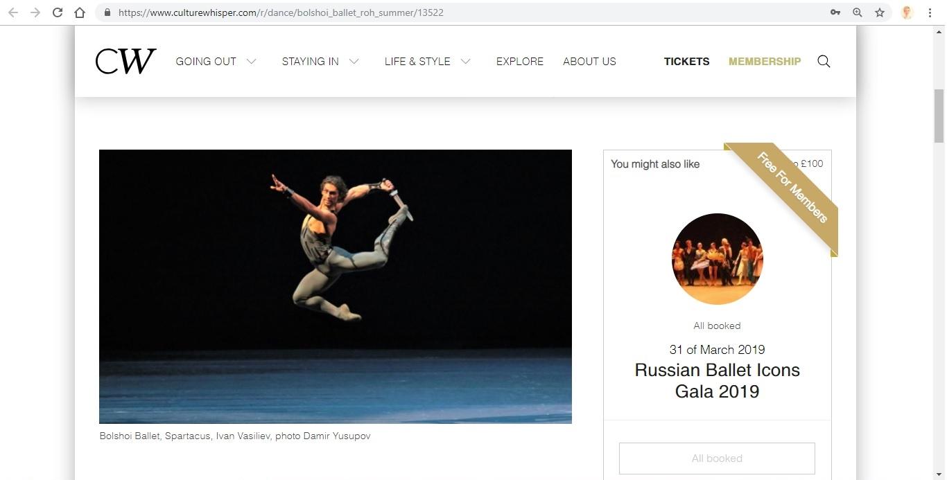 Screenshot of Culture Whisper content by Georgina Butler. Preview of Bolshoi Ballet: Royal Opera House Summer, image 2