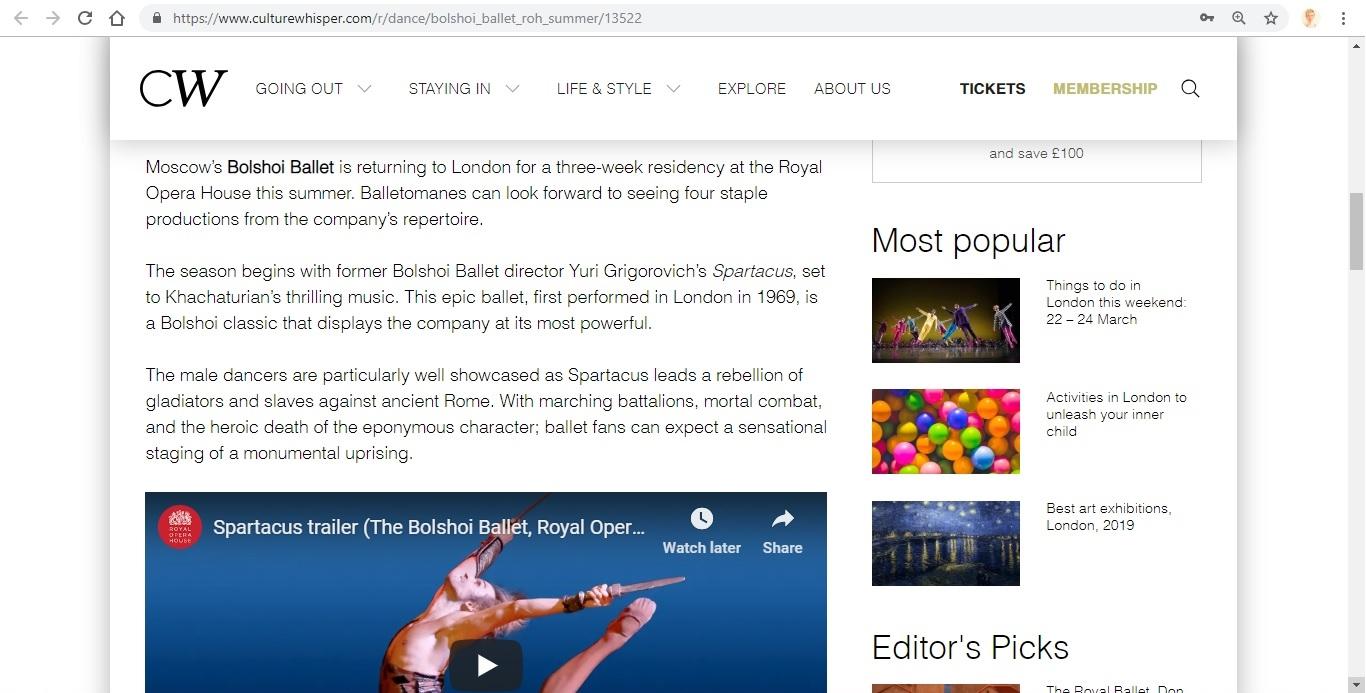 Screenshot of Culture Whisper content by Georgina Butler. Preview of Bolshoi Ballet: Royal Opera House Summer, image 3