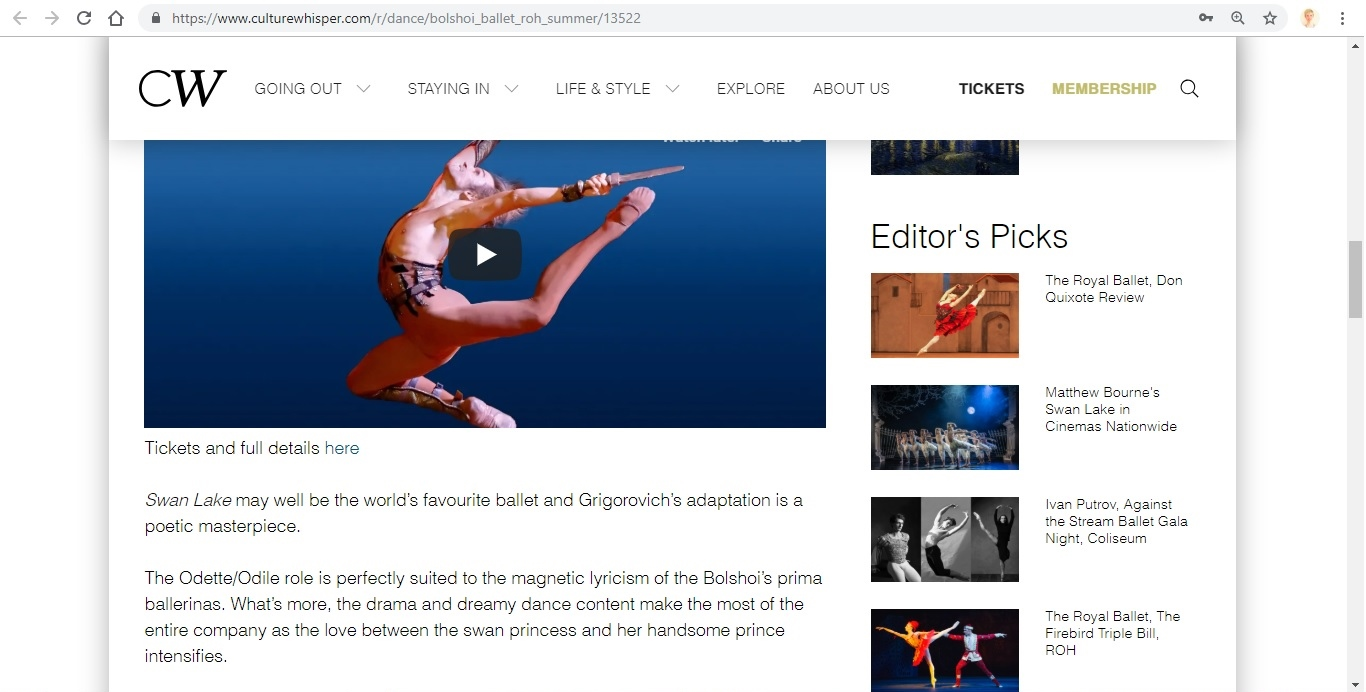 Screenshot of Culture Whisper content by Georgina Butler. Preview of Bolshoi Ballet: Royal Opera House Summer, image 4