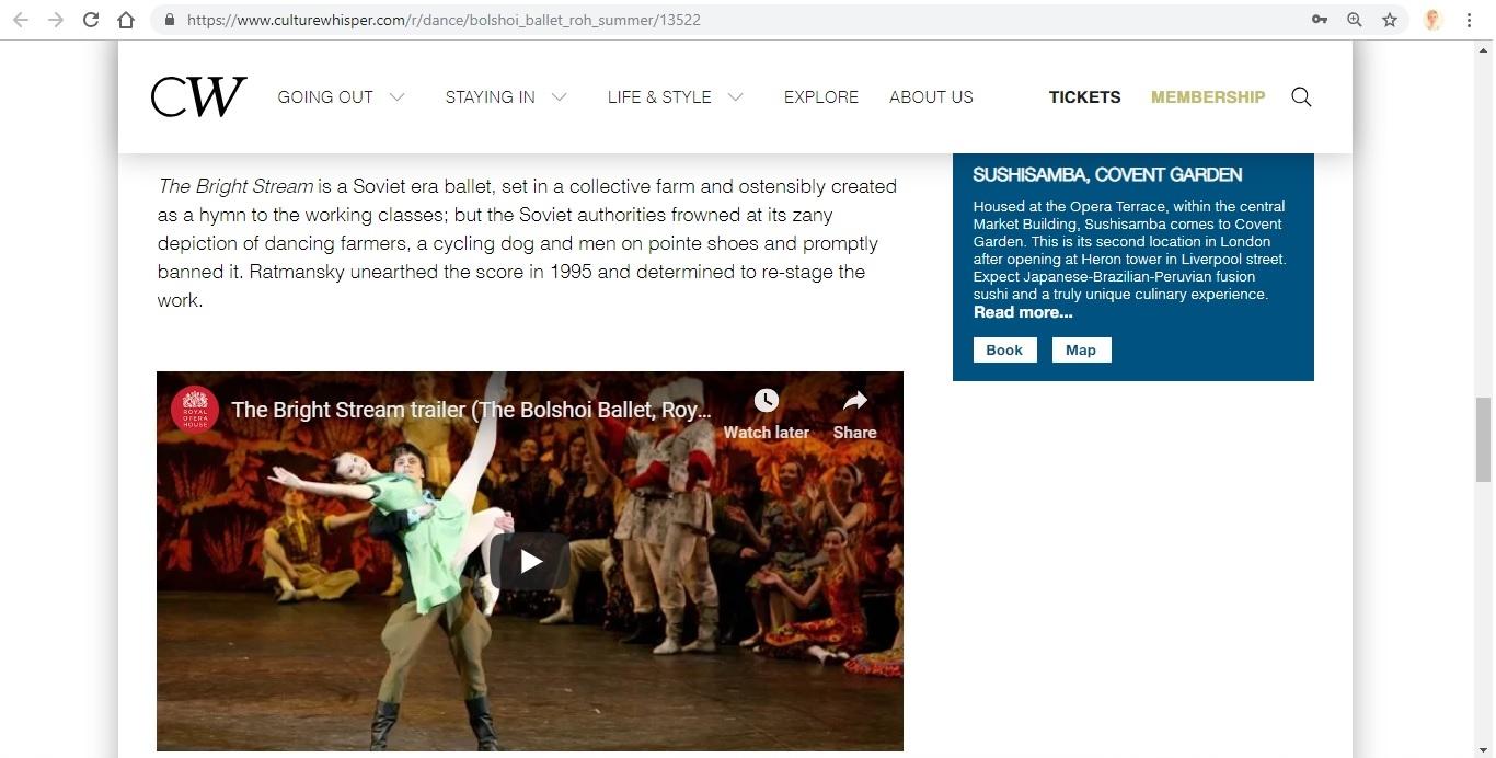Screenshot of Culture Whisper content by Georgina Butler. Preview of Bolshoi Ballet: Royal Opera House Summer, image 6