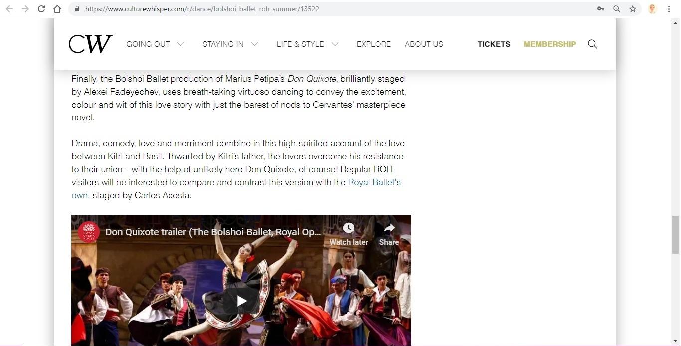 Screenshot of Culture Whisper content by Georgina Butler. Preview of Bolshoi Ballet: Royal Opera House Summer, image 7