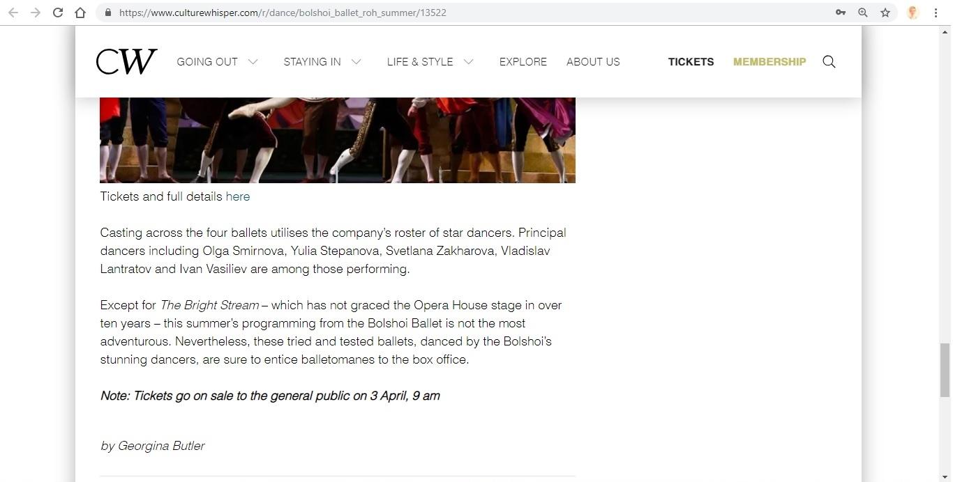 Screenshot of Culture Whisper content by Georgina Butler. Preview of Bolshoi Ballet: Royal Opera House Summer, image 8