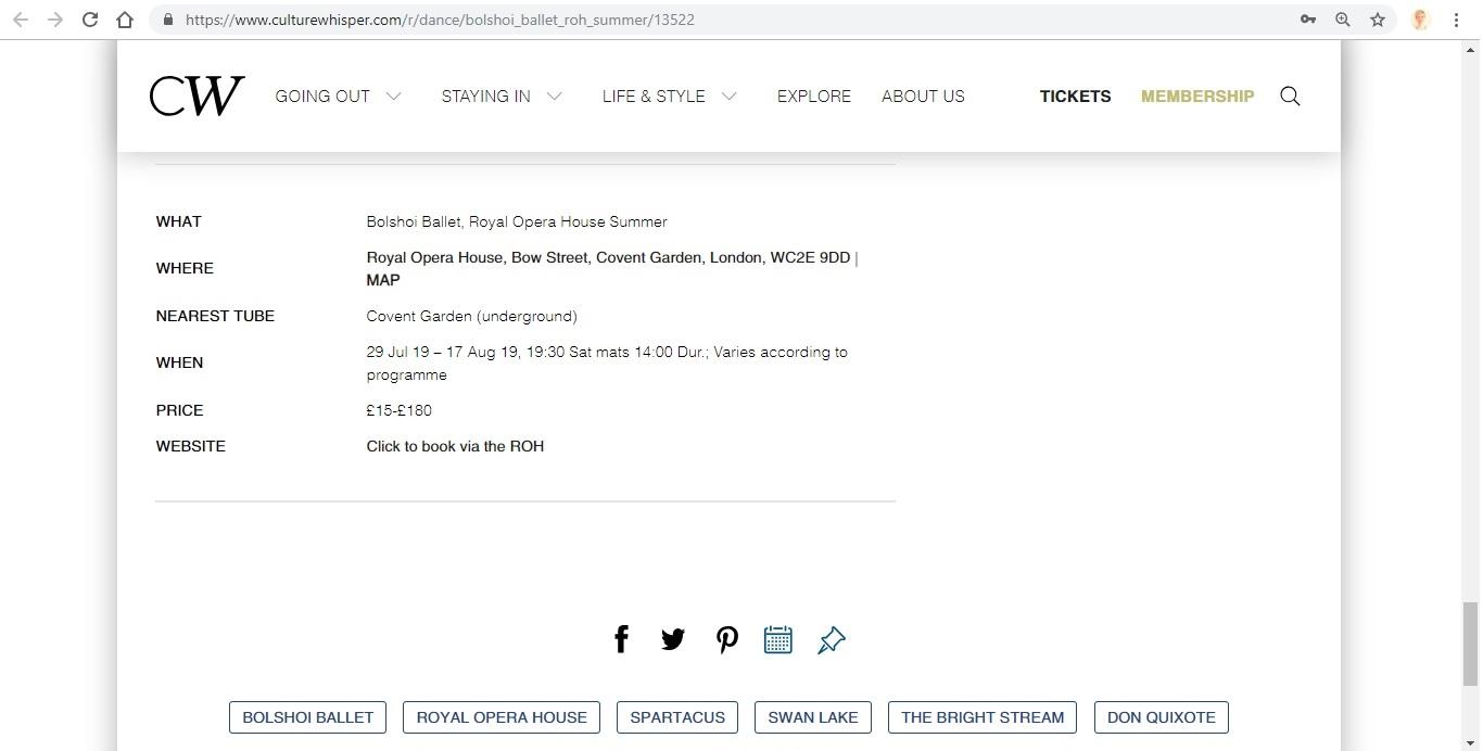 Screenshot of Culture Whisper content by Georgina Butler. Preview of Bolshoi Ballet: Royal Opera House Summer, image 9