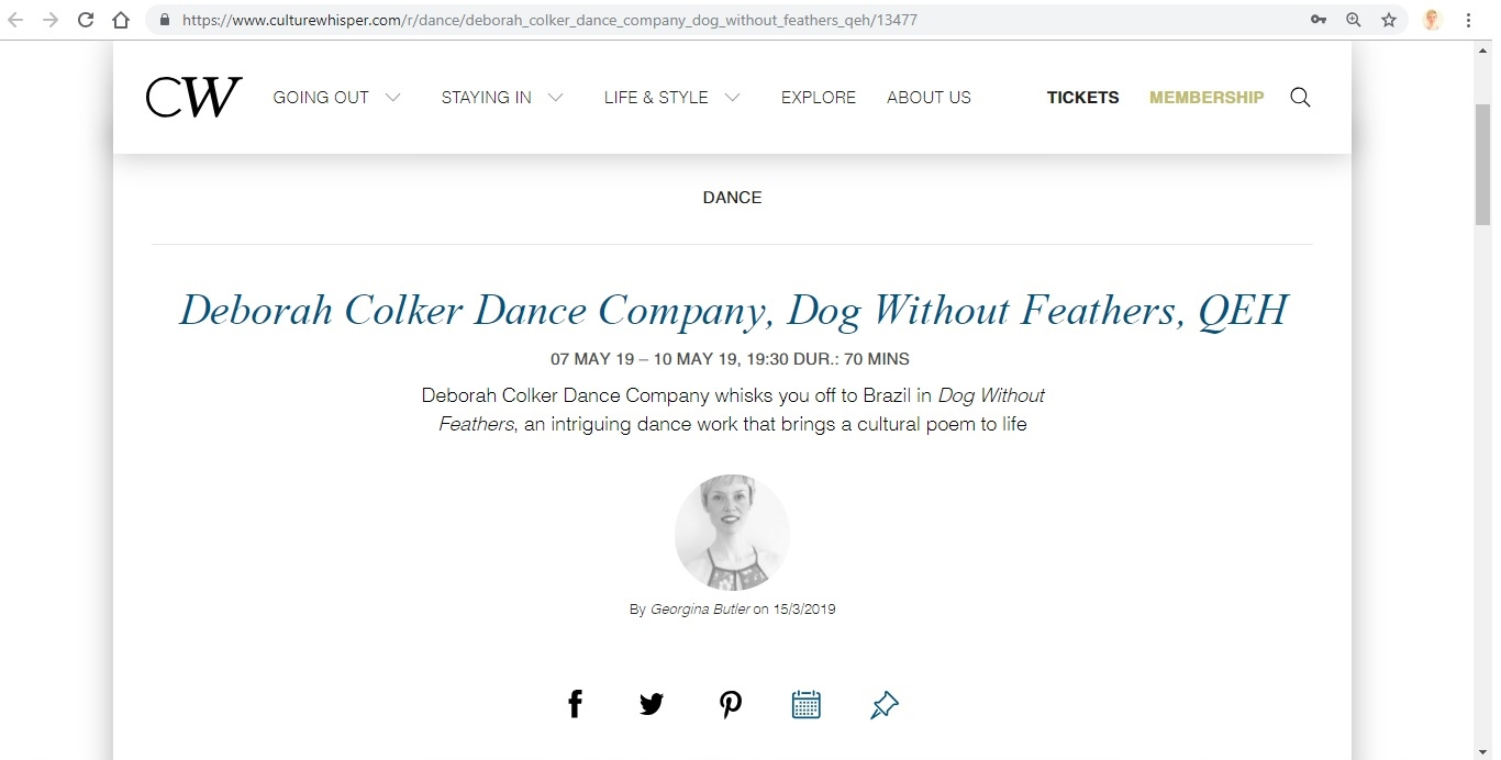 Screenshot of Culture Whisper content by Georgina Butler. Preview of Deborah Colker Dance Company: Dog Without Feathers, image 1
