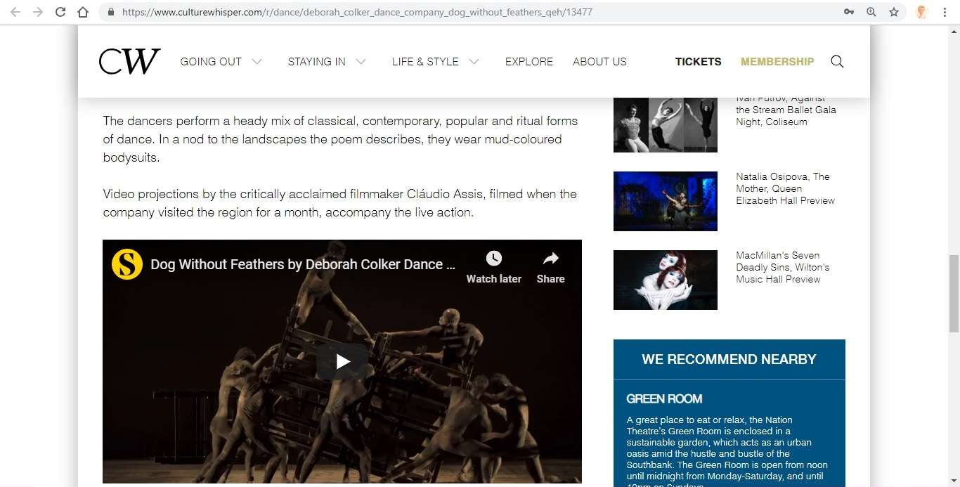 Screenshot of Culture Whisper content by Georgina Butler. Preview of Deborah Colker Dance Company: Dog Without Feathers, image 4