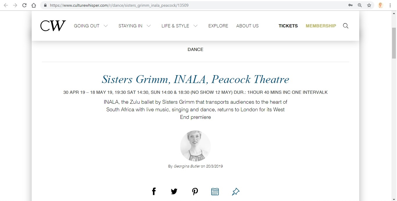 Screenshot of Culture Whisper content by Georgina Butler. Preview of Sisters Grimm: INALA, image 1