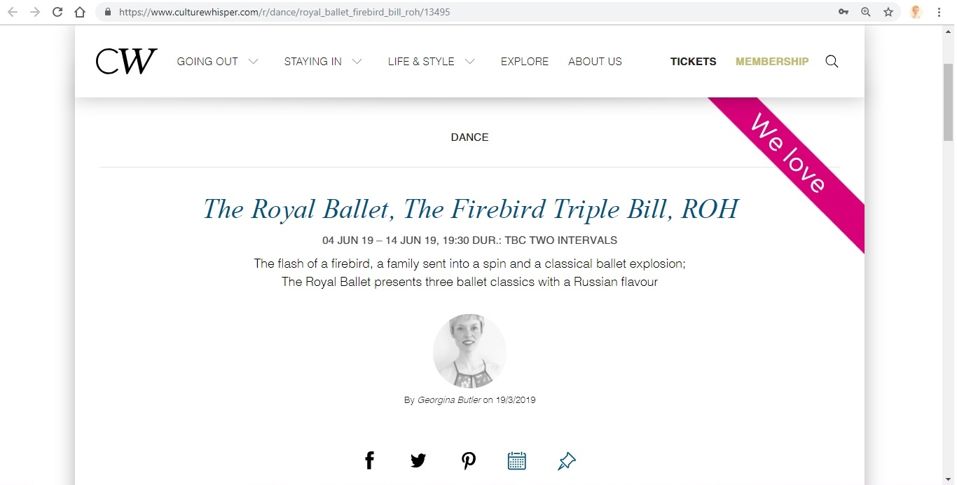 Screenshot of Culture Whisper content by Georgina Butler. Preview of The Royal Ballet: The Firebird Triple Bill, image 1