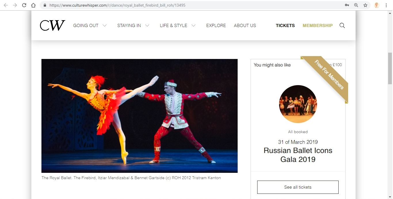 Screenshot of Culture Whisper content by Georgina Butler. Preview of The Royal Ballet: The Firebird Triple Bill, image 2
