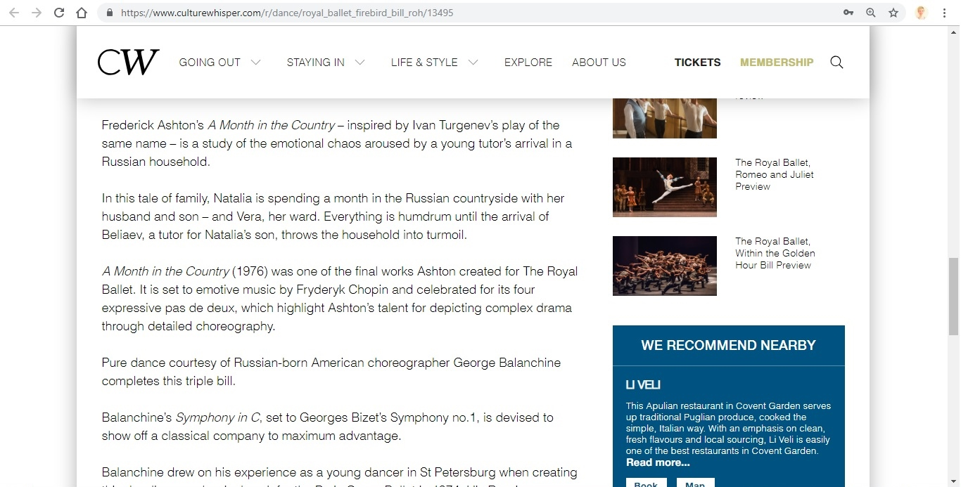 Screenshot of Culture Whisper content by Georgina Butler. Preview of The Royal Ballet: The Firebird Triple Bill, image 4