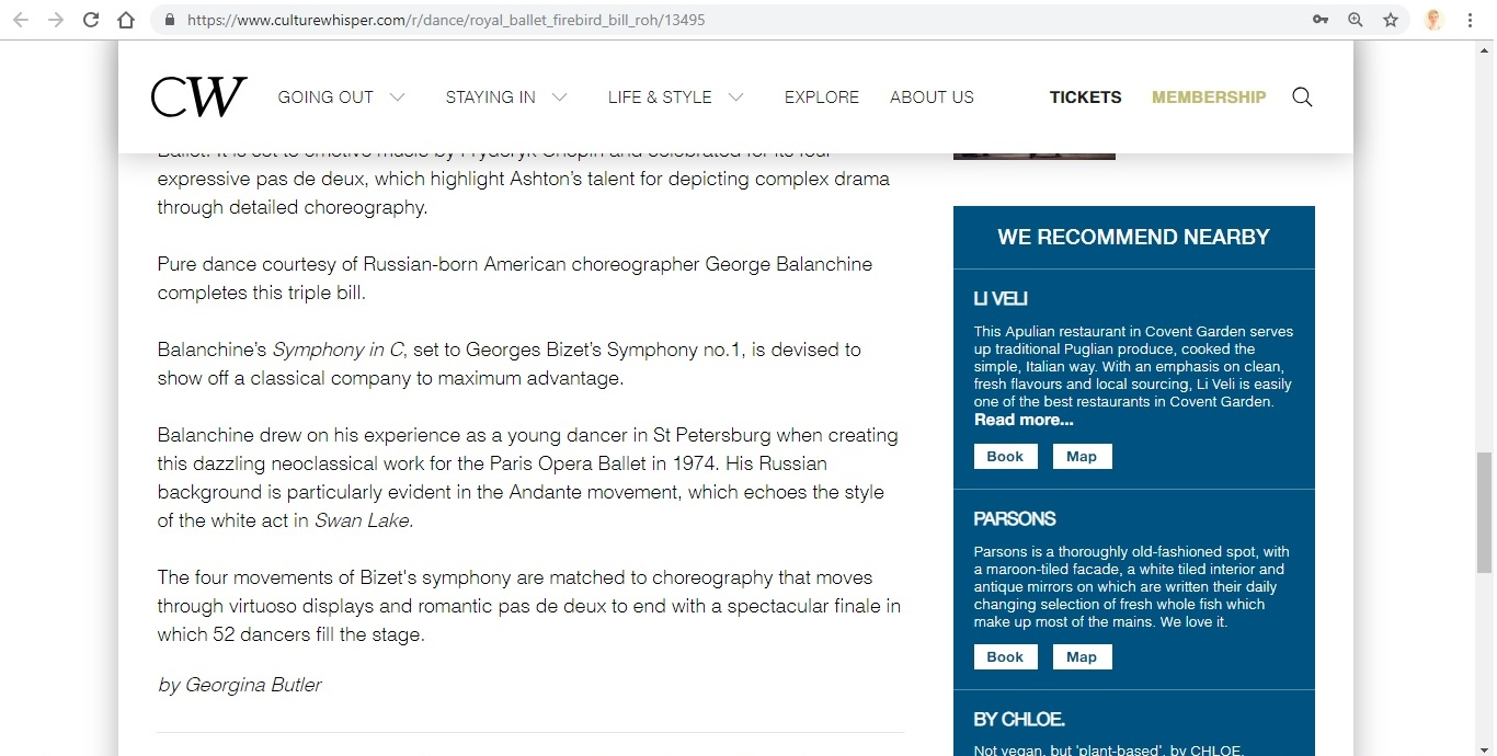 Screenshot of Culture Whisper content by Georgina Butler. Preview of The Royal Ballet: The Firebird Triple Bill, image 5