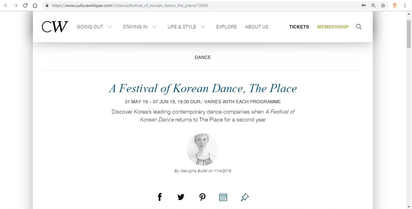 Screenshot of Culture Whisper content by Georgina Butler. Preview of A Festival of Korean Dance at The Place, image 1