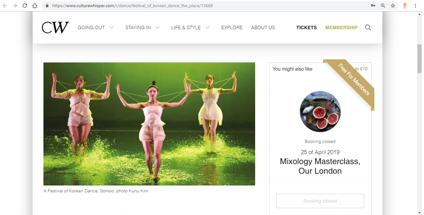 Screenshot of Culture Whisper content by Georgina Butler. Preview of A Festival of Korean Dance at The Place, image 2