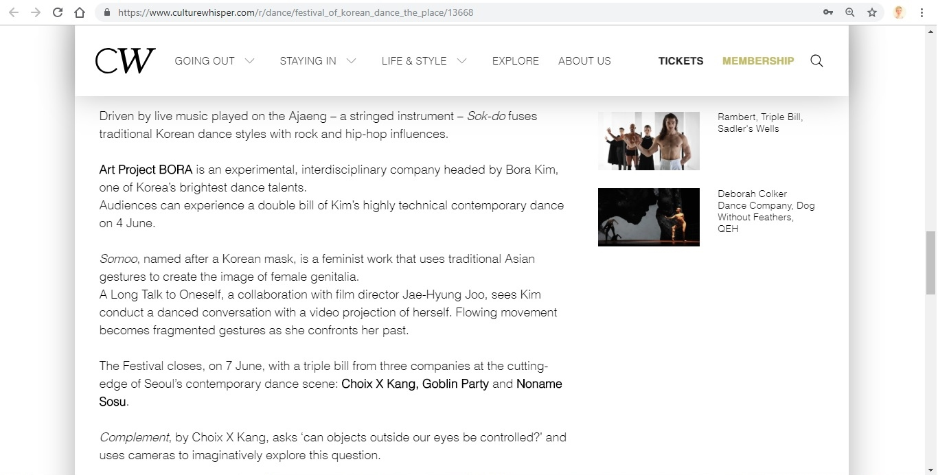 Screenshot of Culture Whisper content by Georgina Butler. Preview of A Festival of Korean Dance at The Place, image 5