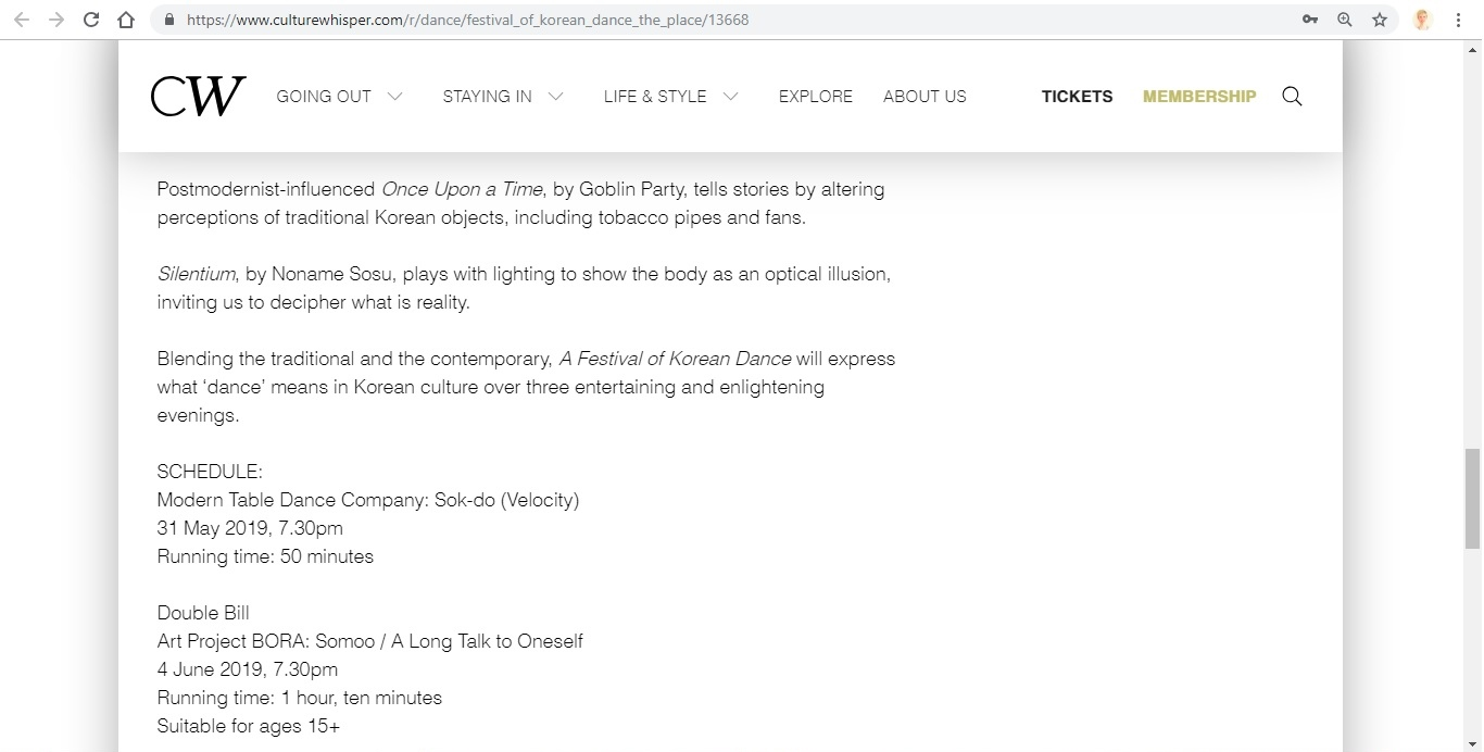 Screenshot of Culture Whisper content by Georgina Butler. Preview of A Festival of Korean Dance at The Place, image 6