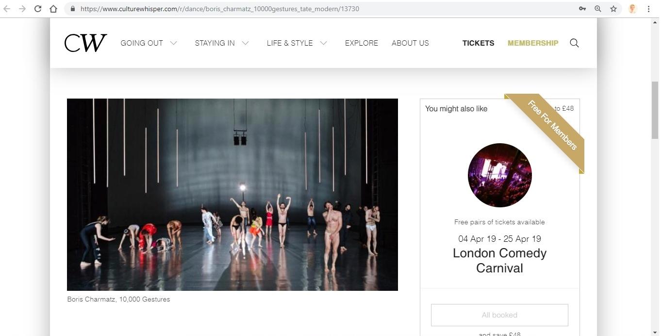 Screenshot of Culture Whisper content by Georgina Butler. Preview of Boris Charmatz: 10,000 Gestures, image 2