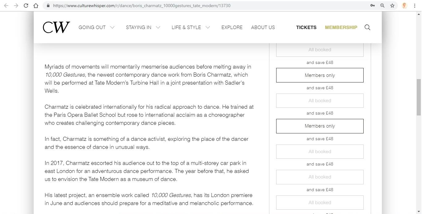 Screenshot of Culture Whisper content by Georgina Butler. Preview of Boris Charmatz: 10,000 Gestures, image 3