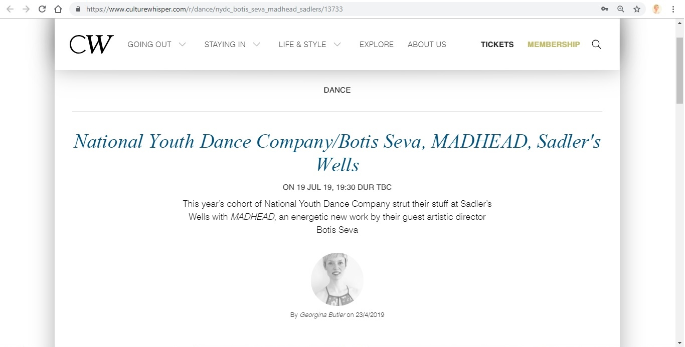 Screenshot of Culture Whisper content by Georgina Butler. Preview of National Youth Dance Company and Botis Seva: MADHEAD, image 1