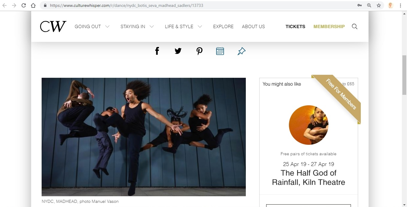 Screenshot of Culture Whisper content by Georgina Butler. Preview of National Youth Dance Company and Botis Seva: MADHEAD, image 2