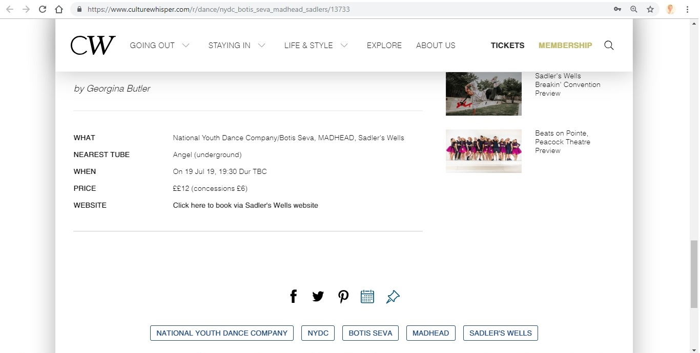 Screenshot of Culture Whisper content by Georgina Butler. Preview of National Youth Dance Company and Botis Seva: MADHEAD, image 5