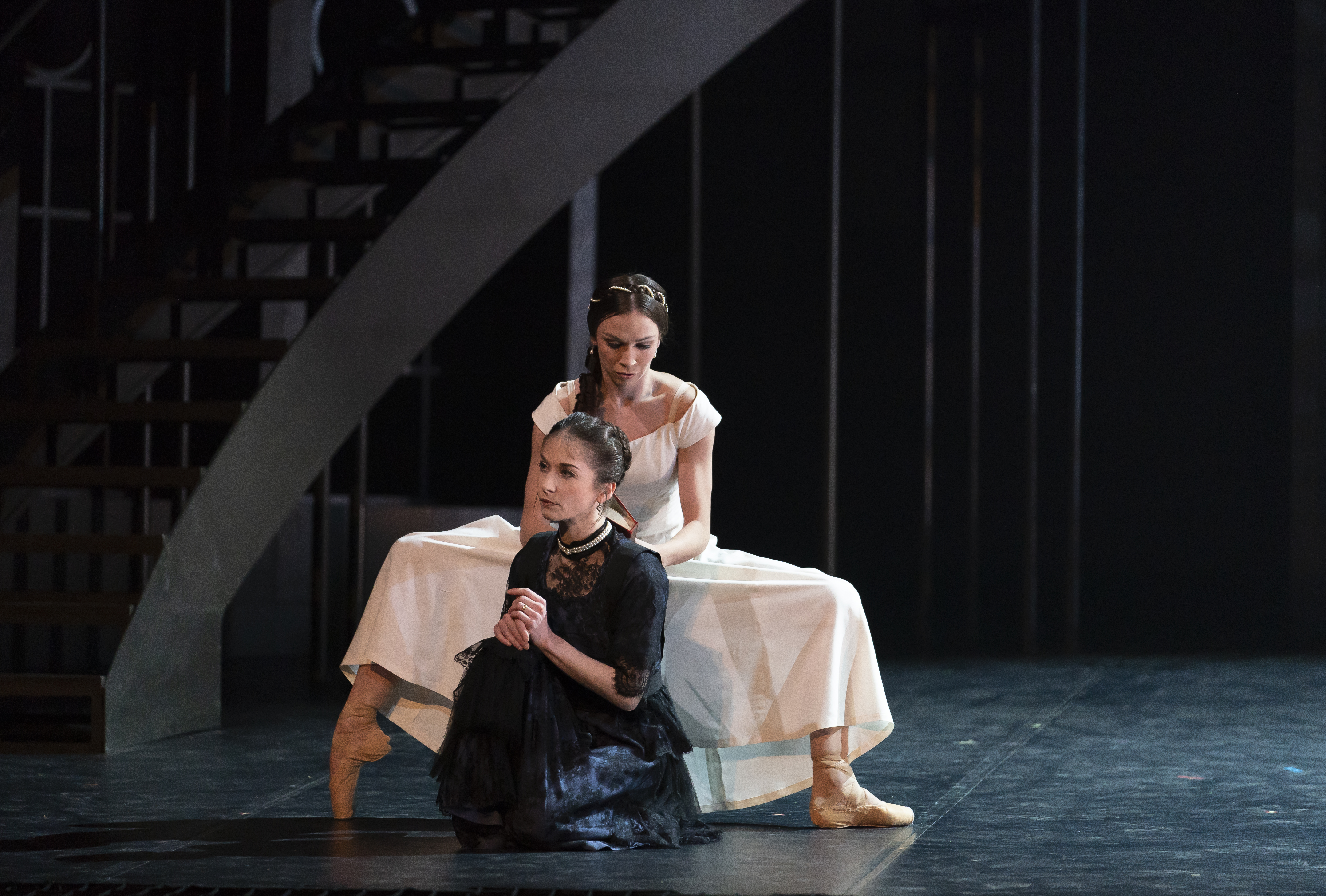 Northern Ballet dancers Abigail Prudames and Pippa Moore as Victoria and Older Princess Beatrice in Northern Ballet's'Victoria'.