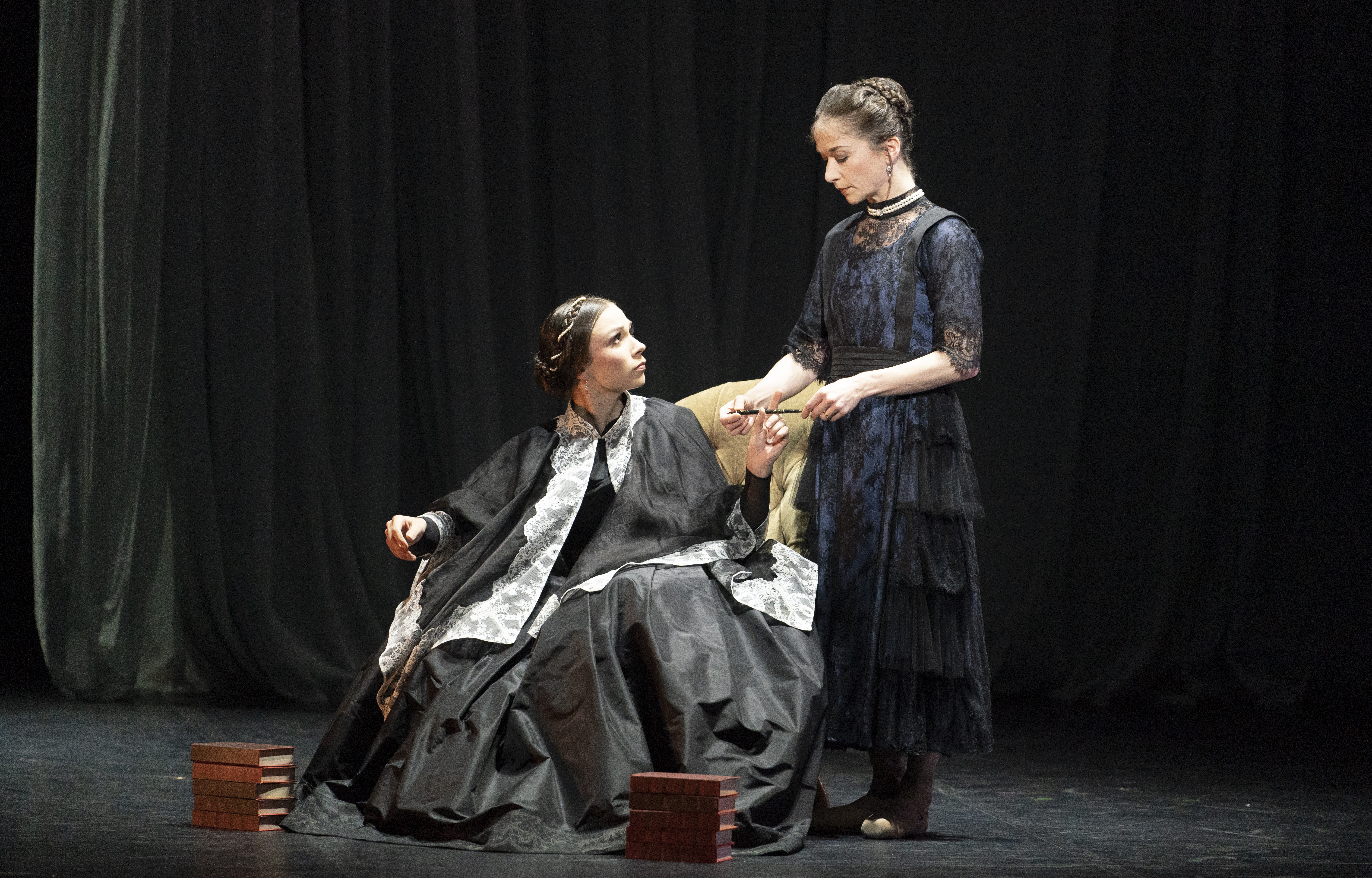 Abigail Prudames as Victoria and Pippa Moore as Older Princess Beatrice in Northern Ballet's 'Victoria'.
