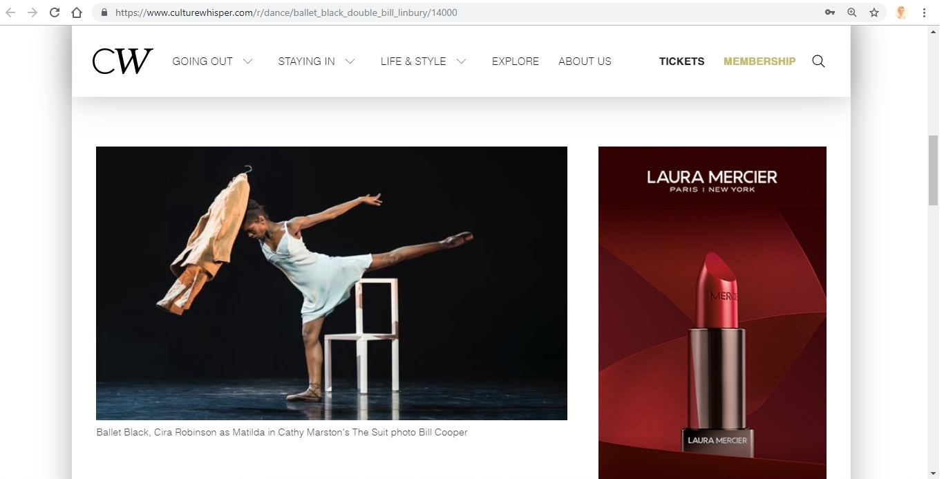 Screenshot of Culture Whisper content by Georgina Butler. Preview of Ballet Black: Double Bill (The Suit / Ingoma), image 2