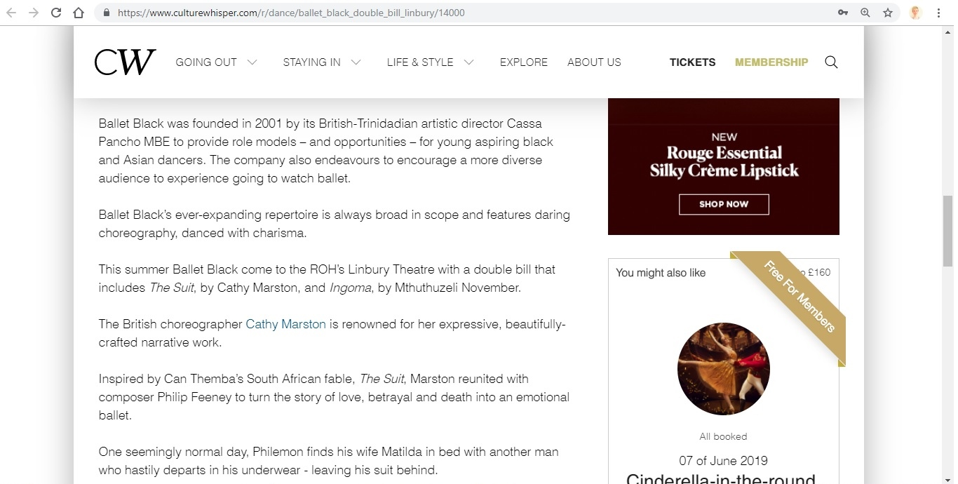 Screenshot of Culture Whisper content by Georgina Butler. Preview of Ballet Black: Double Bill (The Suit / Ingoma), image 3
