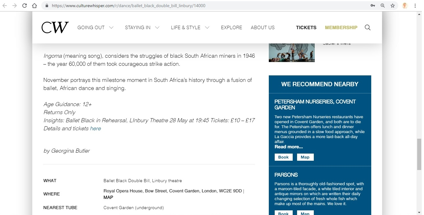Screenshot of Culture Whisper content by Georgina Butler. Preview of Ballet Black: Double Bill (The Suit / Ingoma), image 5