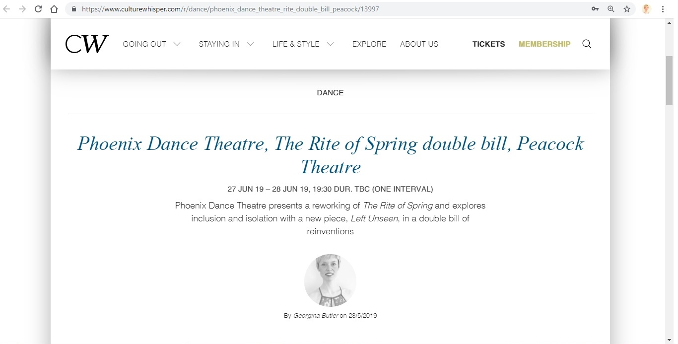 Screenshot of Culture Whisper content by Georgina Butler. Preview of Phoenix Dance Theatre: The Rite of Spring double bill, image 1