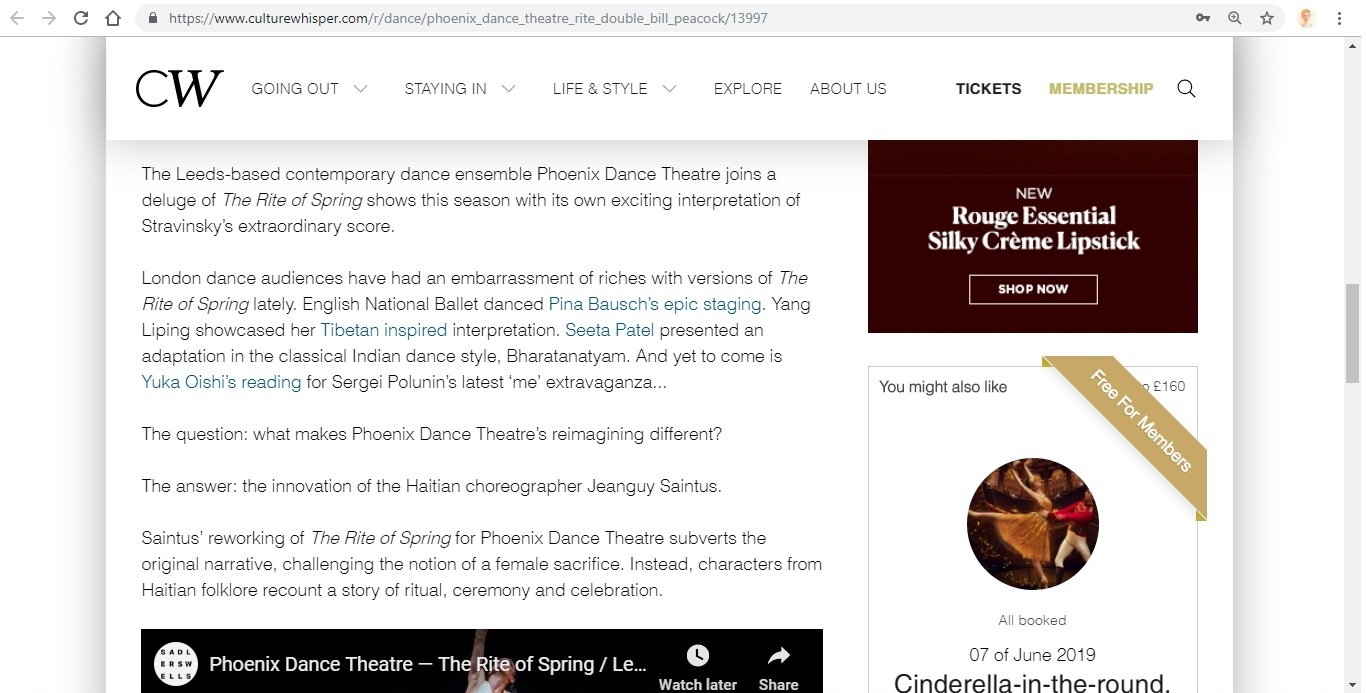 Screenshot of Culture Whisper content by Georgina Butler. Preview of Phoenix Dance Theatre: The Rite of Spring double bill, image 3