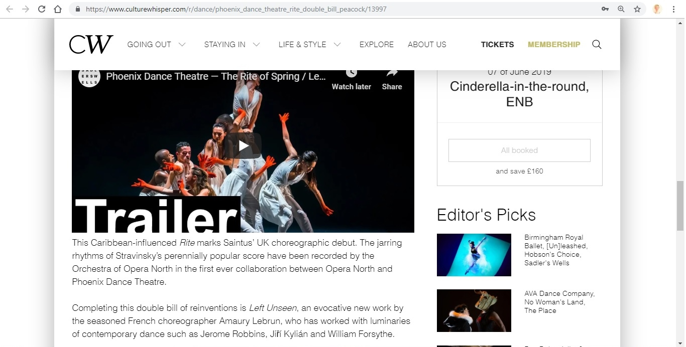 Screenshot of Culture Whisper content by Georgina Butler. Preview of Phoenix Dance Theatre: The Rite of Spring double bill, image 4
