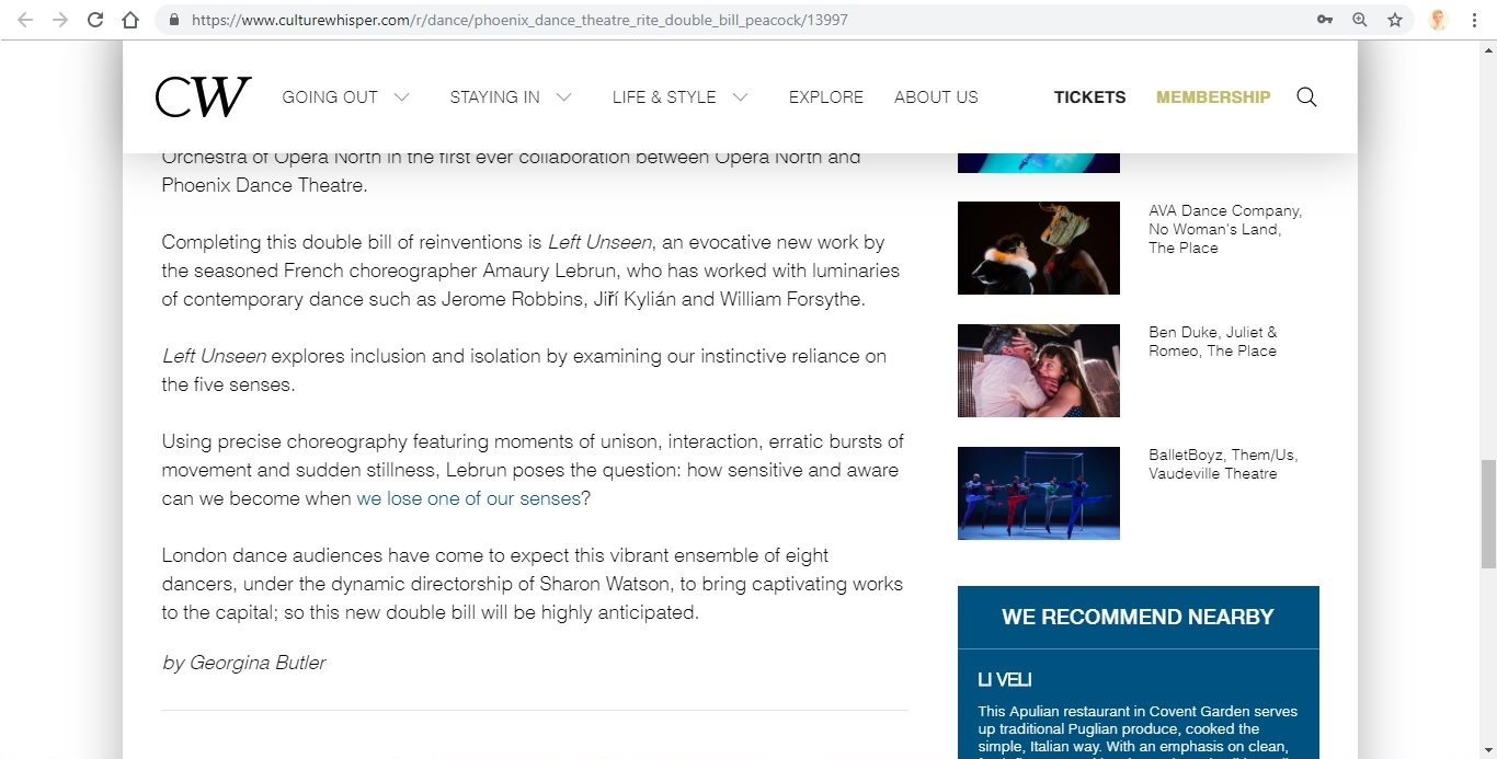 Screenshot of Culture Whisper content by Georgina Butler. Preview of Phoenix Dance Theatre: The Rite of Spring double bill, image 5