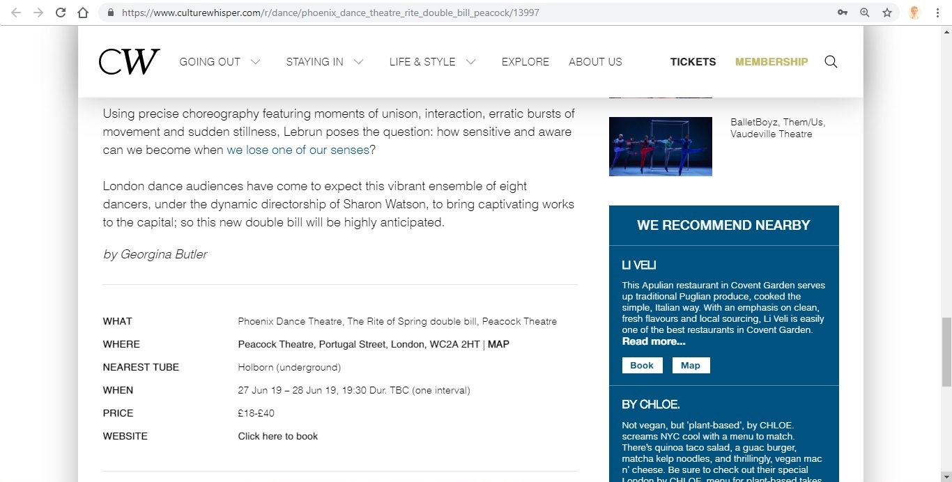 Screenshot of Culture Whisper content by Georgina Butler. Preview of Phoenix Dance Theatre: The Rite of Spring double bill, image 6