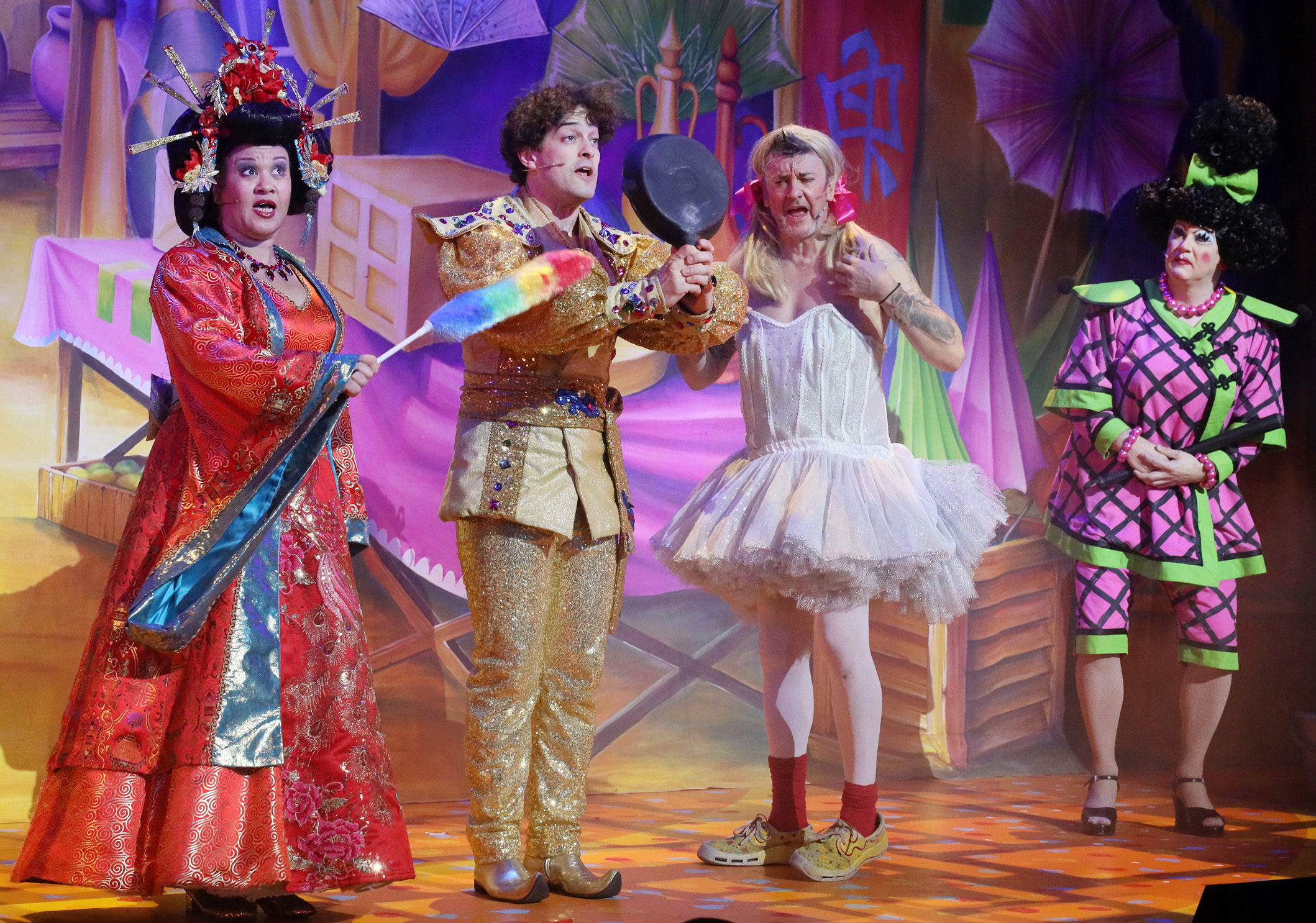 Aladdin at Milton Keynes Theatre, Christmas 2019. Debra Michaels as The Empress, Lee Mead as Aladdin, Joe Pasquale as Wishee Washee and David Robbins as Widow Twankey.