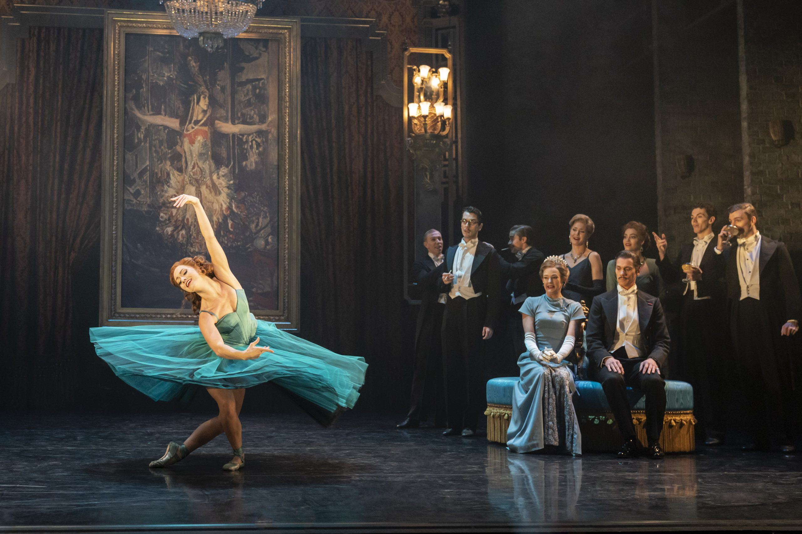 Matthew Bourne's production of The Red Shoes. Ashley Shaw as Victoria Page and New Adventures Company. Photo by Johan Persson.
