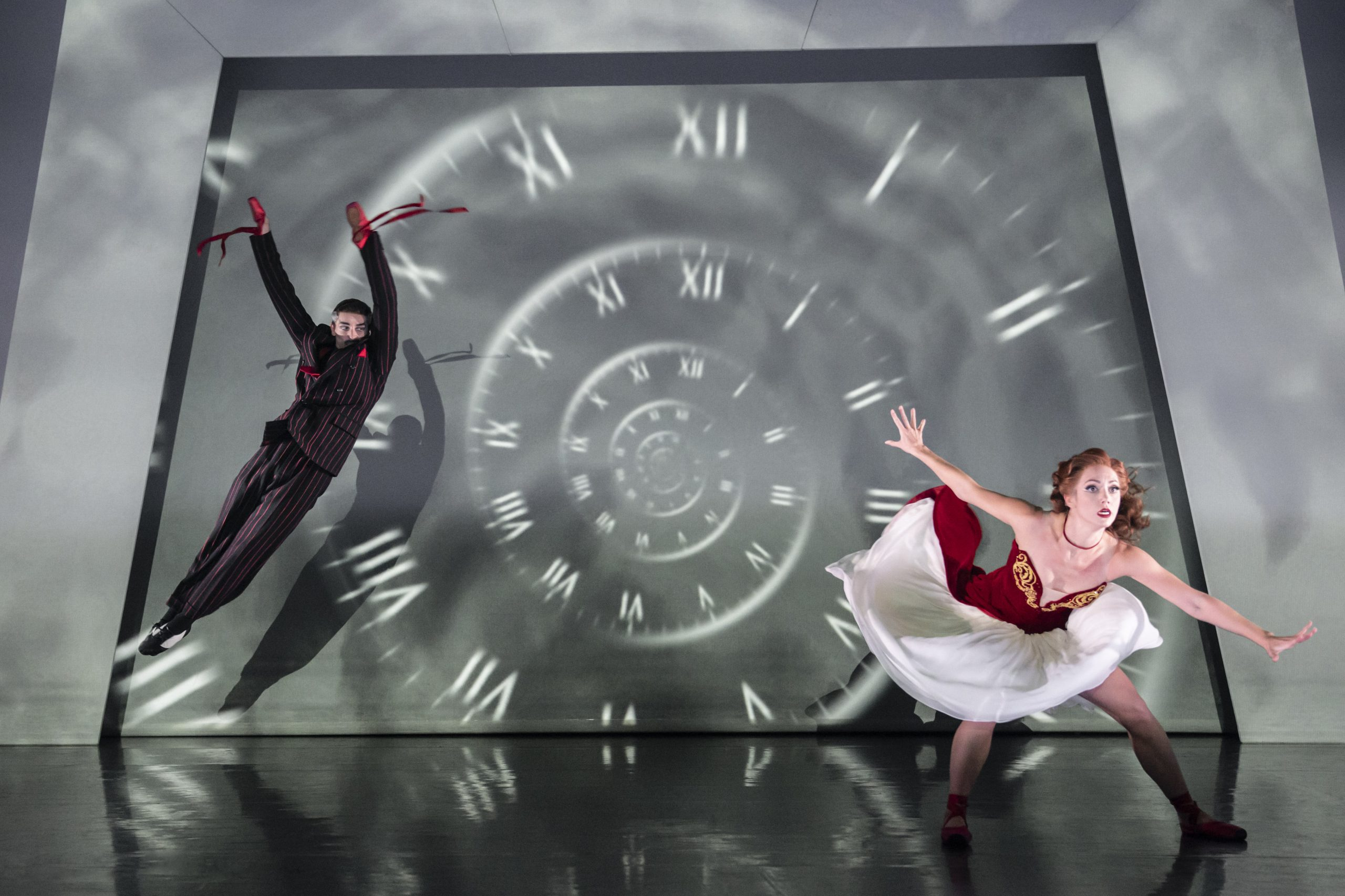 Matthew Bourne's production of The Red Shoes. Liam Mower as Grischa Ljubov and Ashley Shaw as Victoria Page.