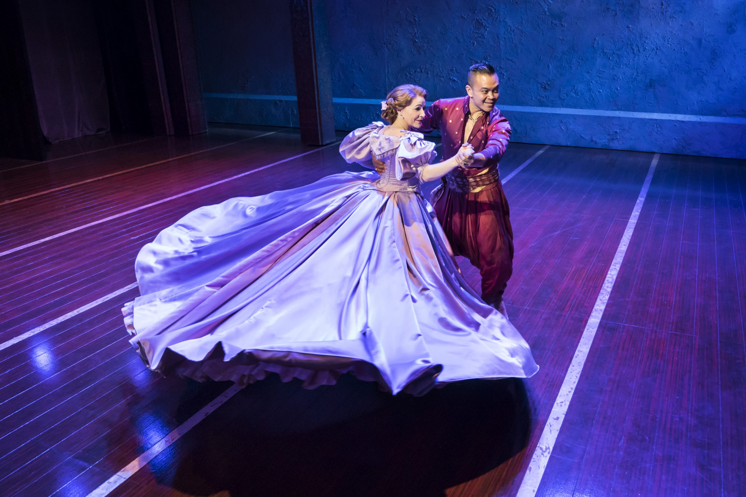 The King and I. Bartlett Sher's interpretation of Rodgers' & Hammerstein's classic. Anna and the King of Siam swirling across the stage during the 'Shall We Dance?' scene.