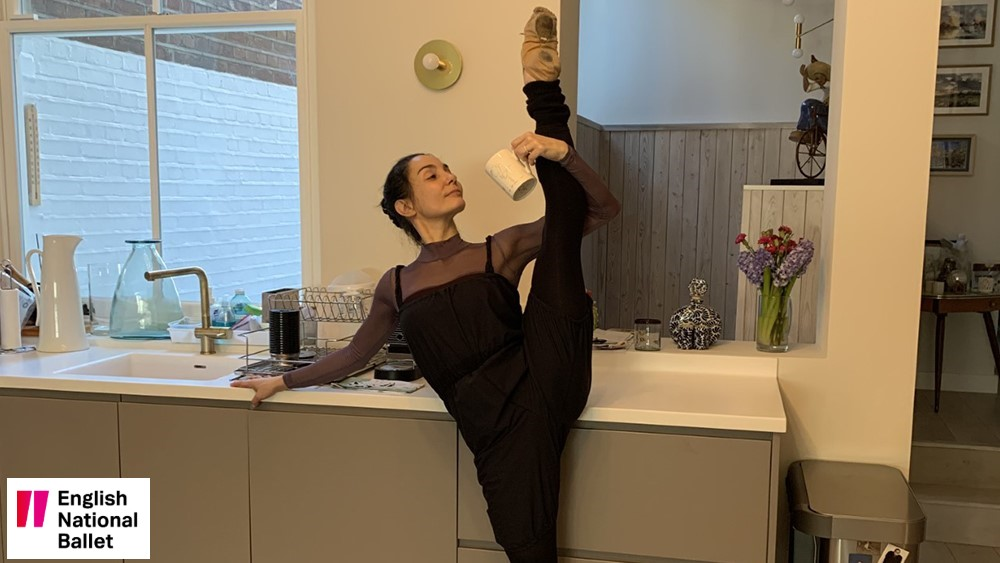 English National Ballet Artistic Director Tamara Rojo teaching ballet online from her kitchen during the COVID-19 pandemic.