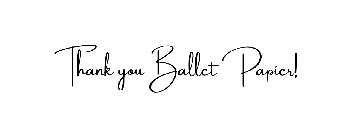 The phrase 'Thank you Ballet Papier' displayed in a font that looks like handwriting.