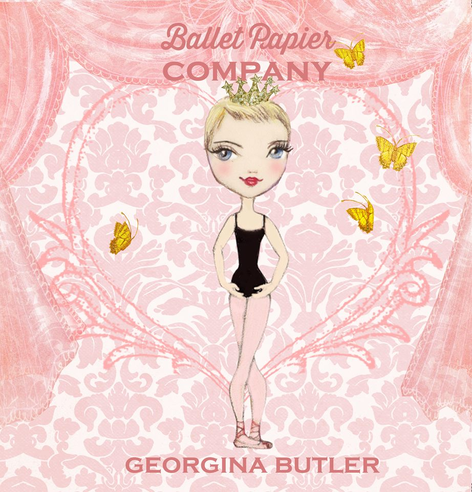 'Ballet Papier Company' illustration for Georgina Butler by Ballet Papier artist Berenice. An illustration of Georgina dressed in a black leotard, pink tights and pink ballet shoes, wearing a sparkling gold crown on her head. She is standing in a neatly crossed fifth position, with her arms in bras bas. The pink background of the illustration depicts curtains like those that frame a stage. Four yellow butterflies are gracefully flying around Georgina, who is centre stage. The words 'Ballet Papier Company' are written above her head at the top of the illustration. 'Georgina Butler' is written at the bottom of the illustration, beneath her feet.