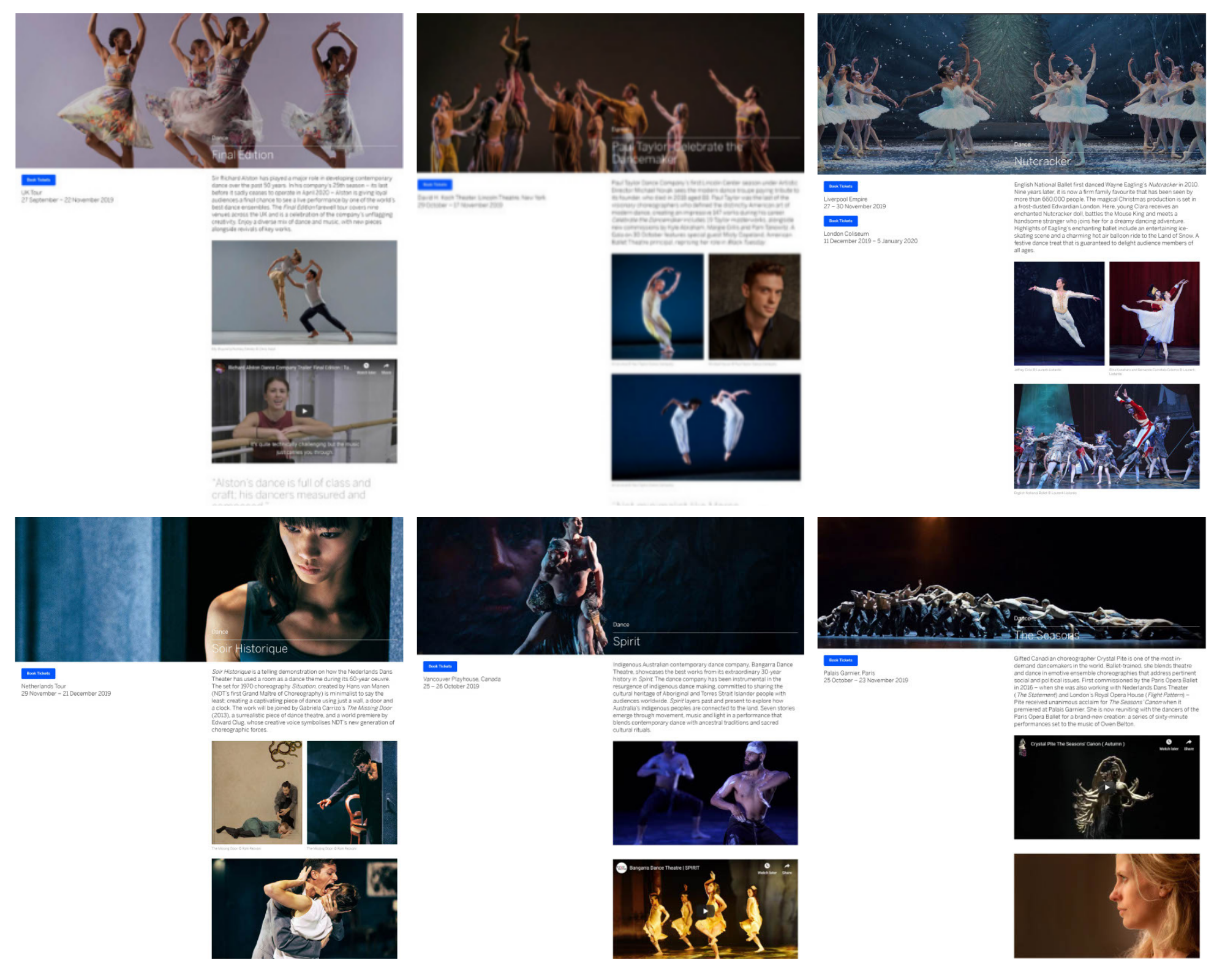 A collage of pages from the dance section of Bon Vivant, an exclusive lifestyle magazine for American Express Centurion members. The dance section content is by dance writer Georgina Butler.