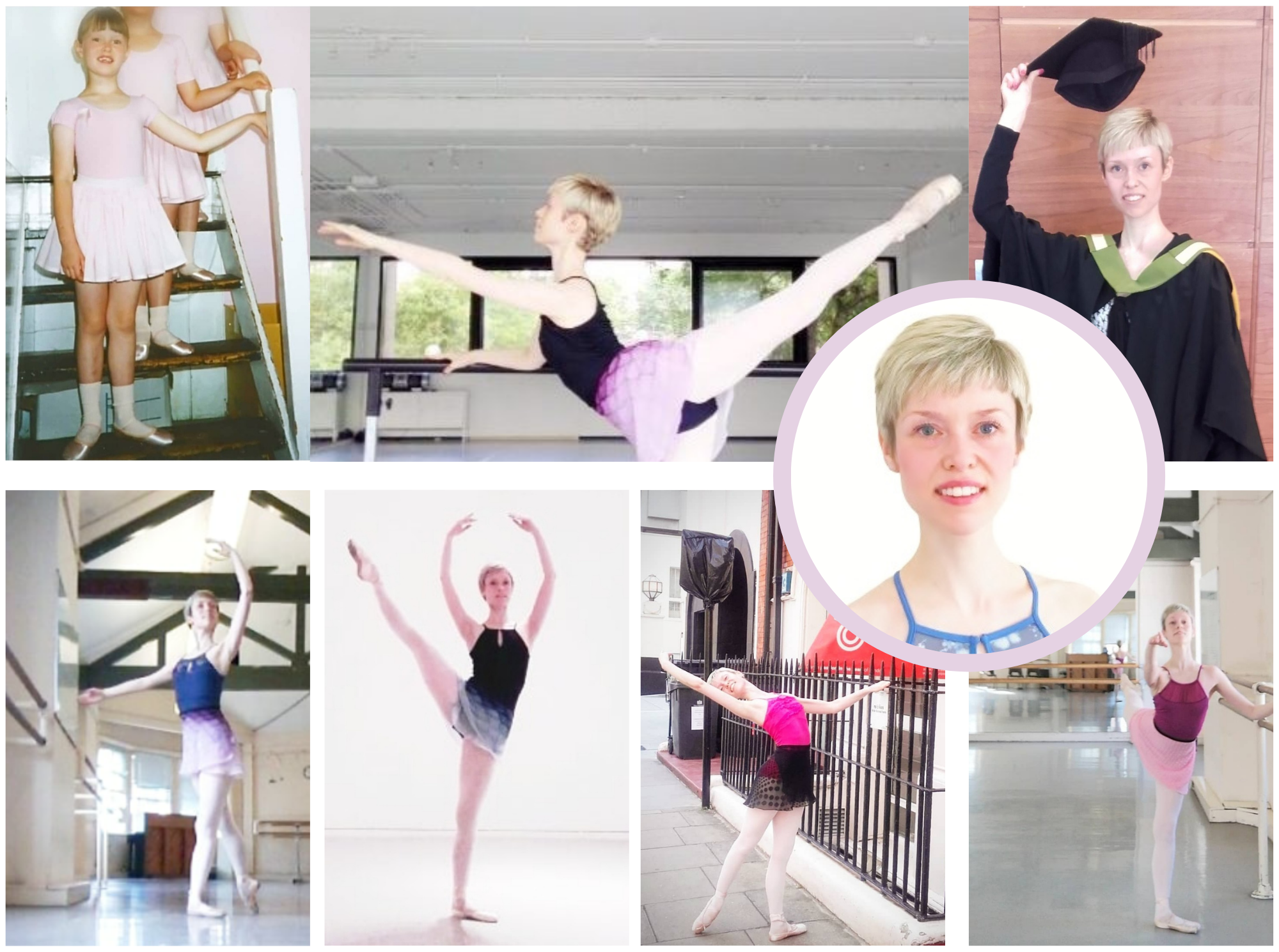 Photographs of Georgina Butler arranged in a collage. From baby ballerina to Royal Academy of Dance graduate and teacher.