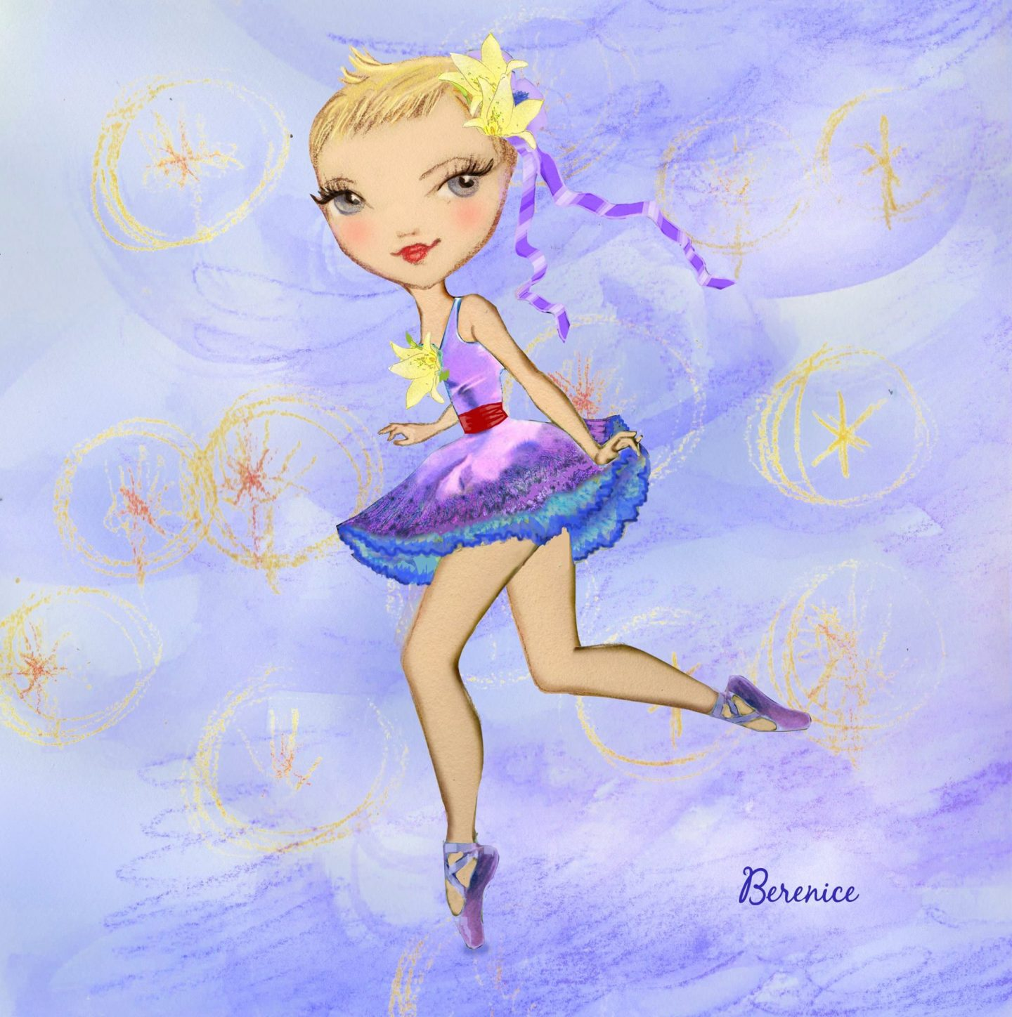 'A Magical Day' illustration for Georgina Butler by Ballet Papier artist Berenice. An illustration of Georgina dressed in a purple dress and matching purple pointe shoes. She is wearing a yellow flower pinned to the bodice of her dress and a second flower, with a trailing purple ribbon, is in her short blonde-brown hair. She is playfully standing en pointe on one leg, casually kicking the other leg out behind her, and smiling at the viewer.