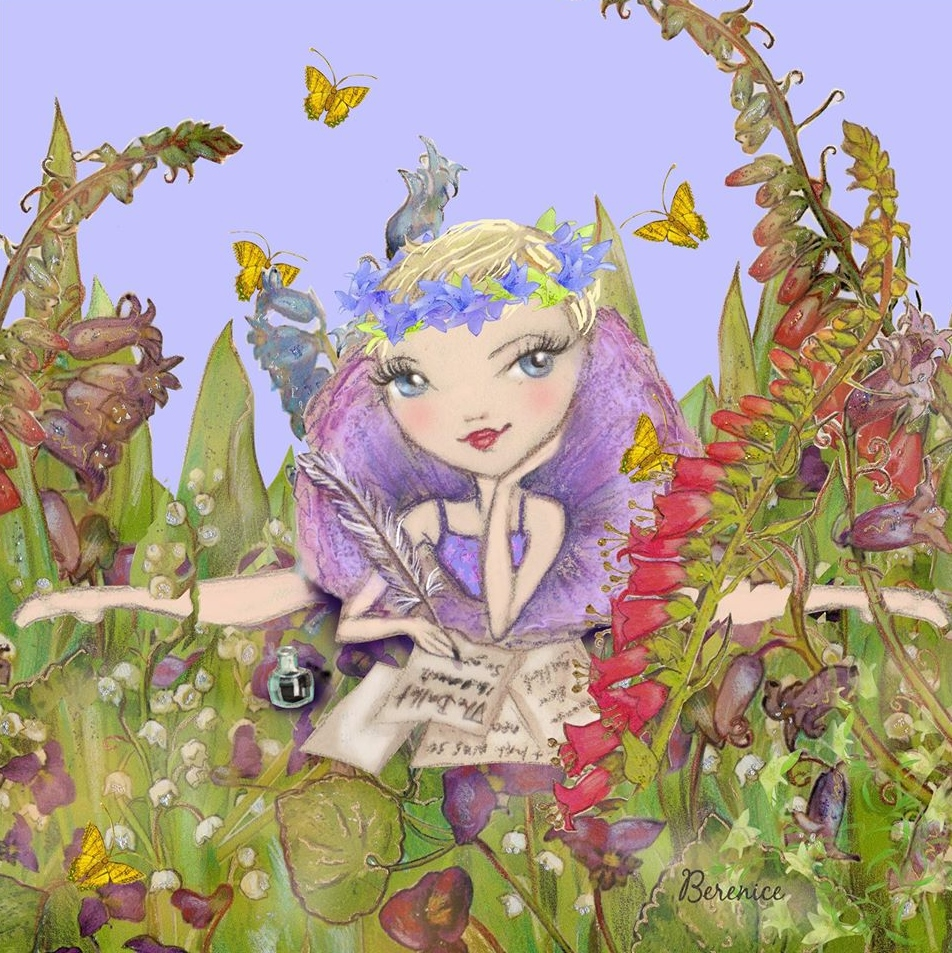 'Spring Inspiration' illustration for Georgina Butler by Ballet Papier artist Berenice. An illustration of Georgina dressed in a purple tutu outfit, sitting in the box splits with her chin propped up in her left hand and a pen in her right hand. There are flowers in her short blonde-brown hair and she is sitting on grass, surrounded by plants and butterflies. There are sheets of paper on the ground in front of her and she is writing on one of these sheets of paper.